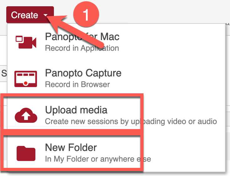 Create menu in Panopto highlighting the upload tool and the folder creation tool