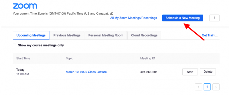 Image of Zoom interface showing a button to Schedule a New Meeting
