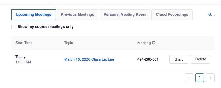 Upcoming Meetings image in Zoom Profile