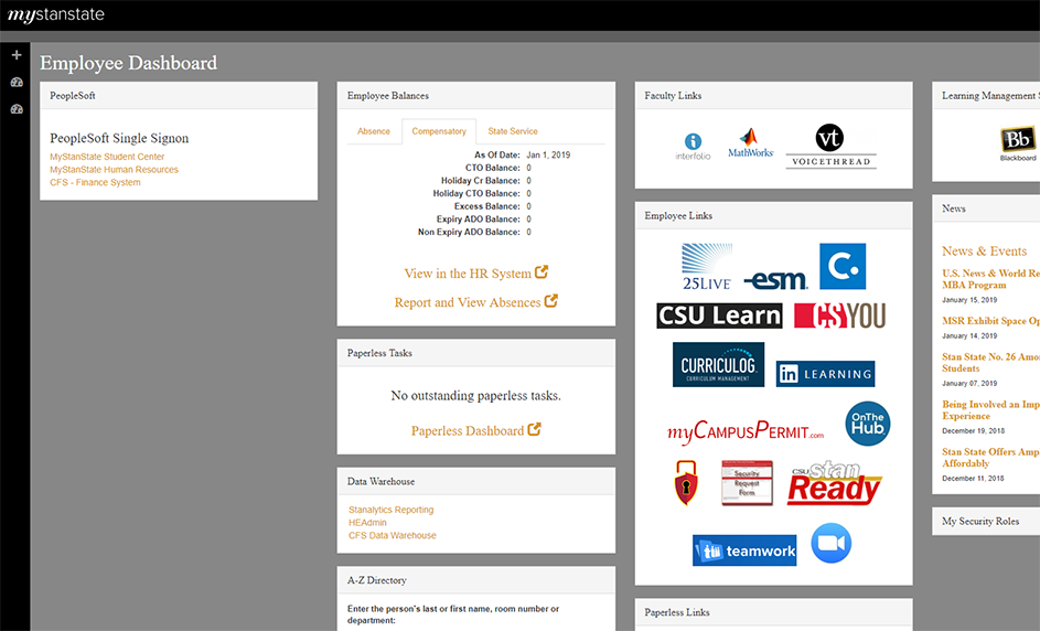 Employee Dashboard Screengrab