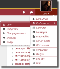 student profile menu