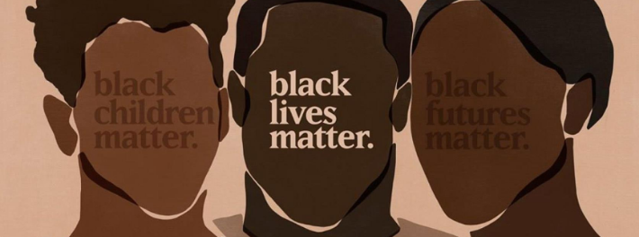 Black Children Matter. Black Lives Matter. Black Futures Matter. Three human silhouettes.
