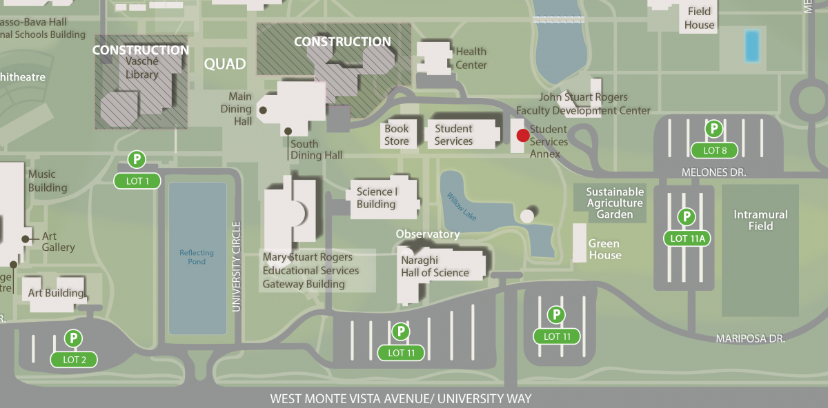 If you need help finding the new location, please call the office at 209-667-3381. We're now located east of the Student Services building
