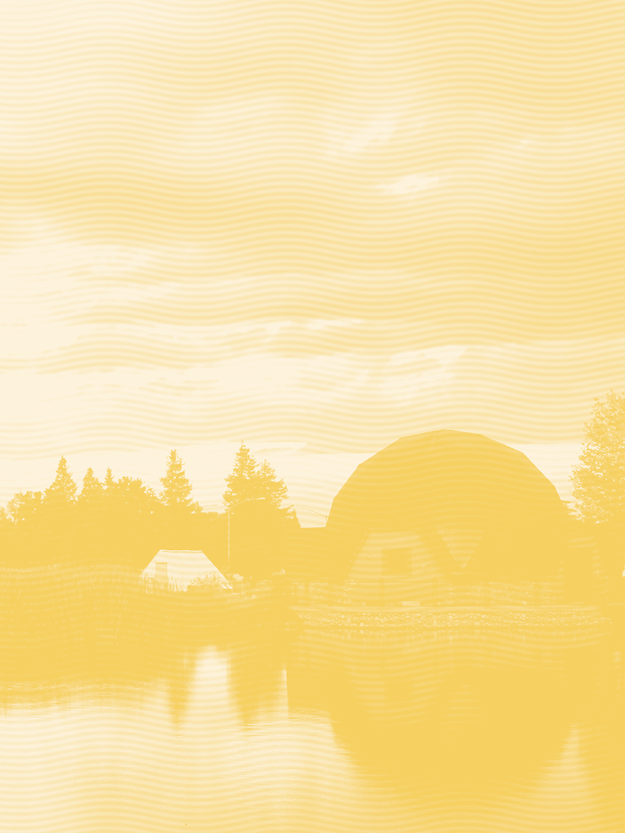 Willow Lake on campus with yellow color treatment