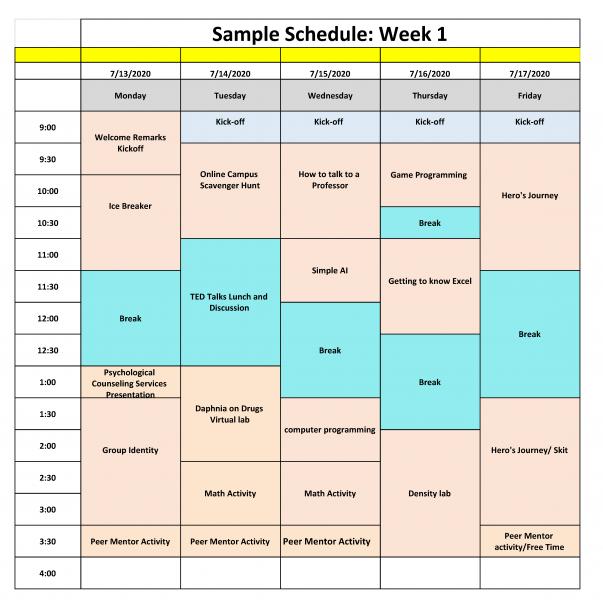 sample schedule week 1