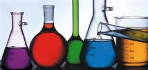 Image of flasks with chemicals in them