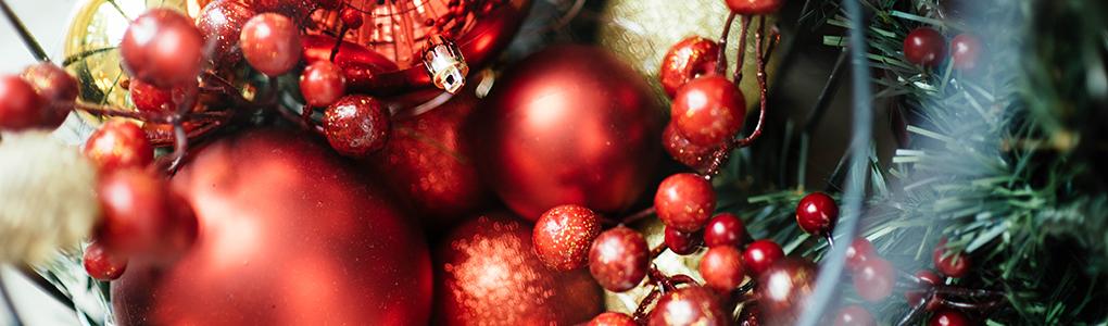 closeup of Christmas baubles