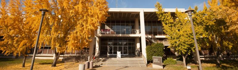 Exterior photo of Bizzini Hall classroom building.