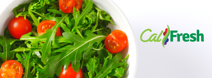 CalFresh logo. Banner withbowl of greens and tomatoes.