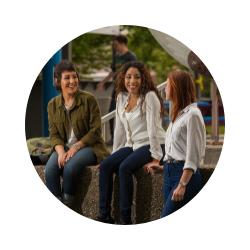 Three students. Group photo.