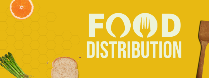Web Banner. Food Distribution logo. Bread slice. Orange slice. Asparagus. Wood spoon.