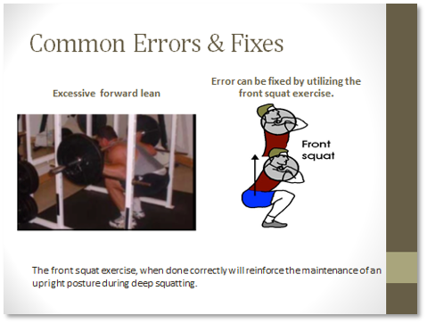 Common Errors and Fixes: Excessive forward lean. Error can be fixed by utilizing the front squat exercise. The front squat exercise, when done correctly will reinforce the maintenance of an upright posture during deep squatting.