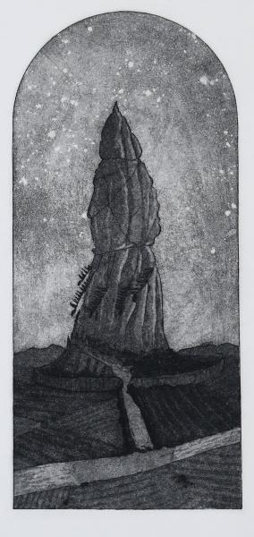 Black and white etching of a tower-like structure