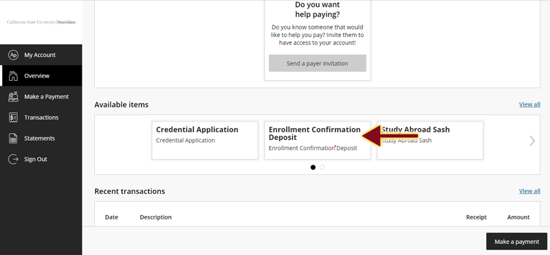 Cashnet screen with arrow pointing to Enrollment Confirmation Deposit Option