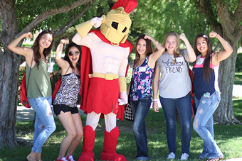 Students with Titus the mascot