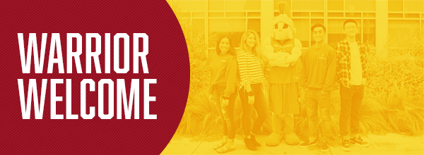 Warrior Welcome graphic with students in red and gold