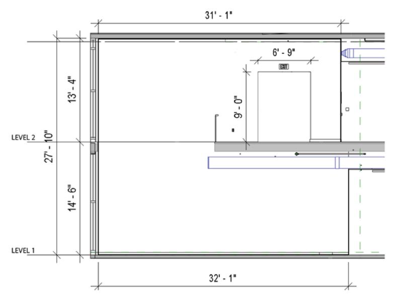 daigram of the open stair case platform
