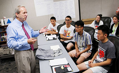 President Sheley greets Chinese students
