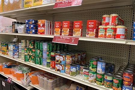 Warrior Food Pantry shelves