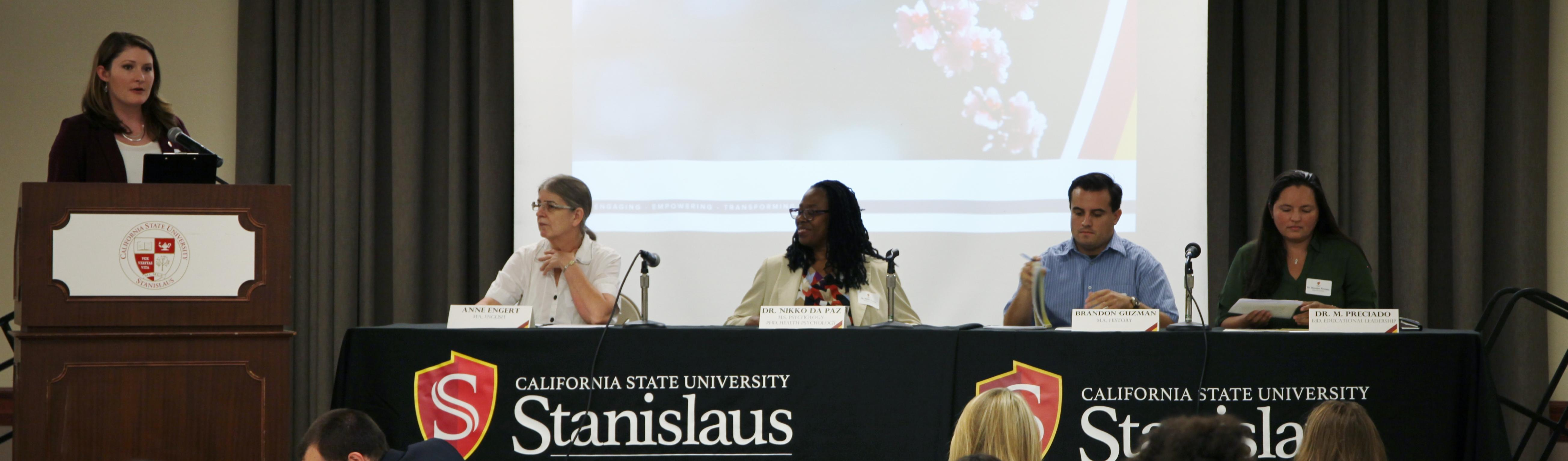 Speakers at new graduate student welcome event