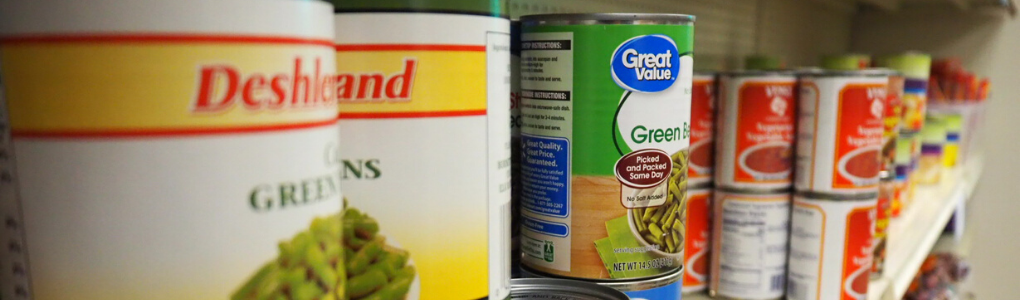 Assorted canned food items from Warrior Food Pantry.