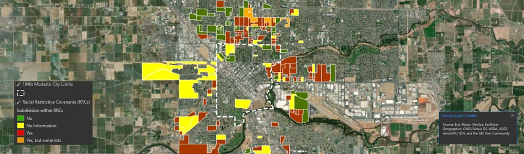 Centrer for Applied Spatial Analysis banner about Racial Restrictive Covenants in Modesto