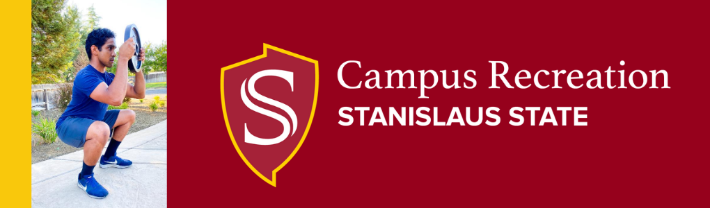campus recreation, stanislaus state, background of person doing squat holding a weight