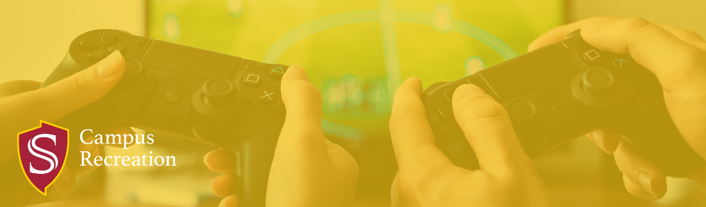 campus recreation, background of two people holding gaming controllers