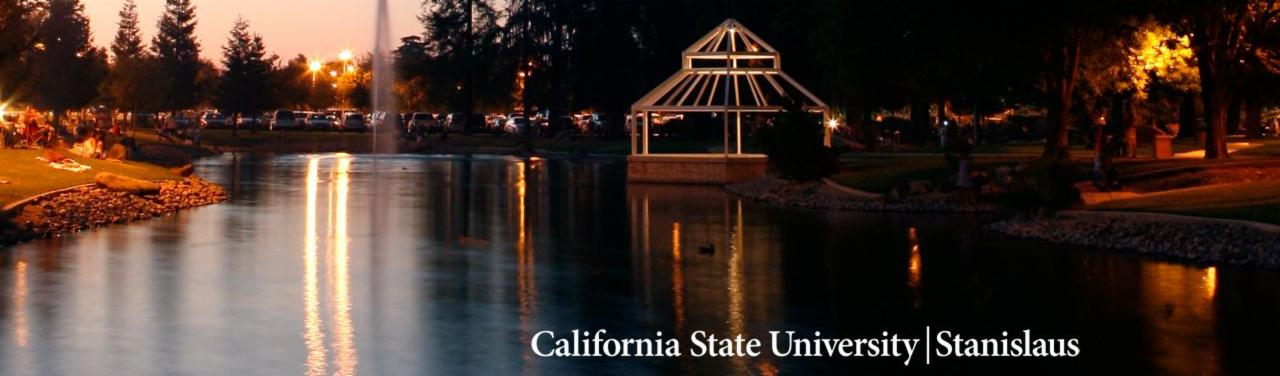 Portrait of a CSU Stanislaus pound at night