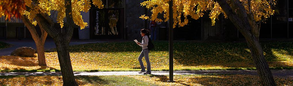 Warrior walking on pathway next to Vasche library under autumn trees