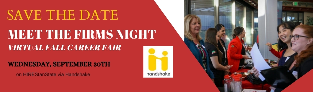 Meet the Firms Night Save the Date, Virtual Fall Career Fair, Wednesday September 30th on HIREStanState via Handshake
