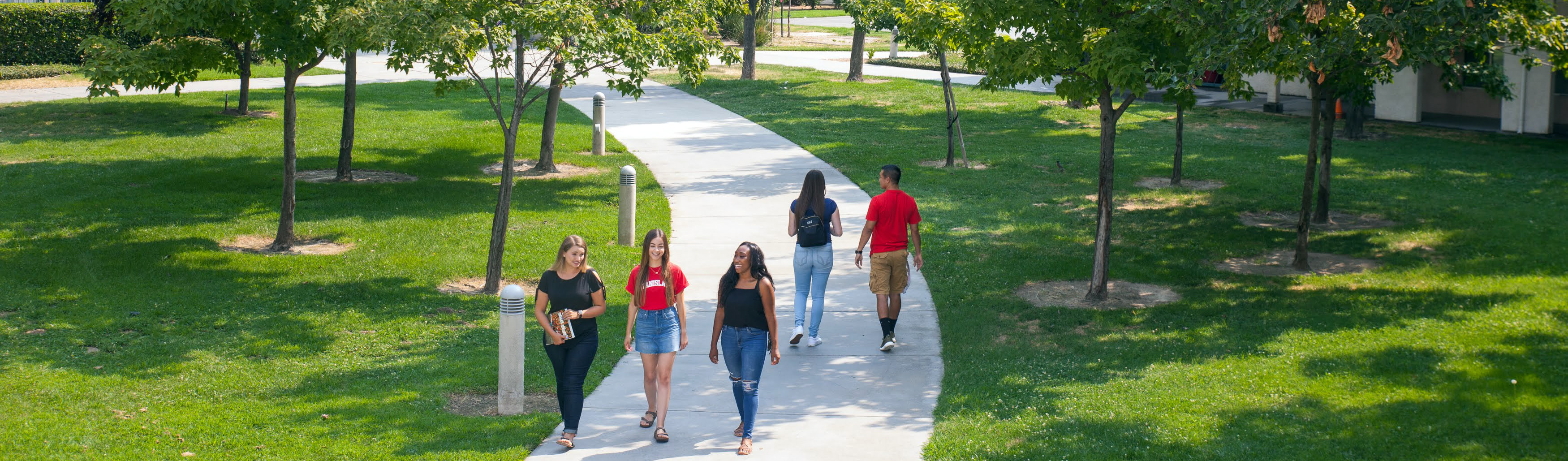 Students walking along pathway