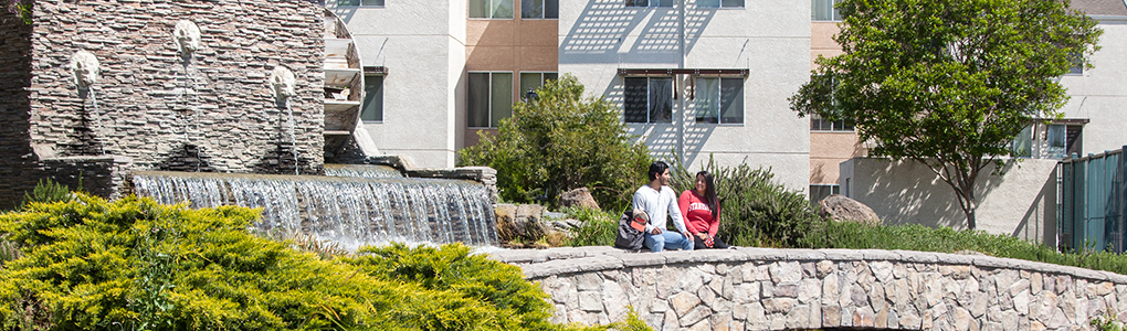 Students sitting on bridge in front of waterfall on campus