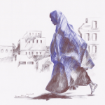 Drawing by Hamed Soltani showing profile view of a woman walking and wearing a cloak with destroyed buildings in the background
