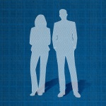Silhouette of a business woman and business man