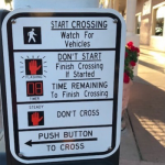 Pedestrian Crosswalk Sign: Start Crossing, Don't Start, Time Remaining, Don't Cross, Push Button