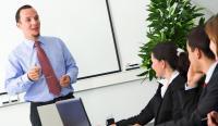 man delivering presentation