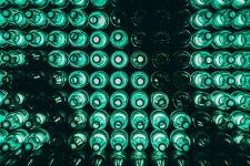 Bunch of greeen bottles