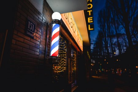 Outdoor blue, white and red barbershop pole