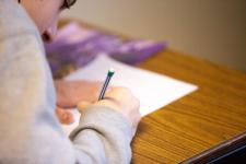 Student taking test.