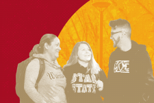 students in stylized graphic