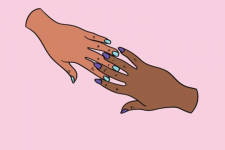 Pink background with two hands