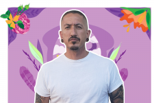 Guy with purple background