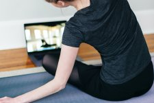 Woman doing yoga.