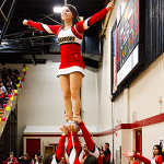 The Warrior Cheer team performing a stunt