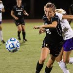 The Women's Soccer team in action
