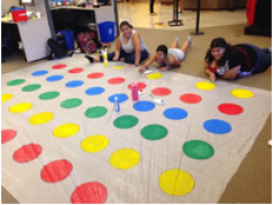 Students going to play twister