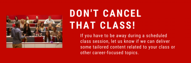 Don't Cancel That Class. Connect with our staff if you have to miss a class session and would like us to present to your students.