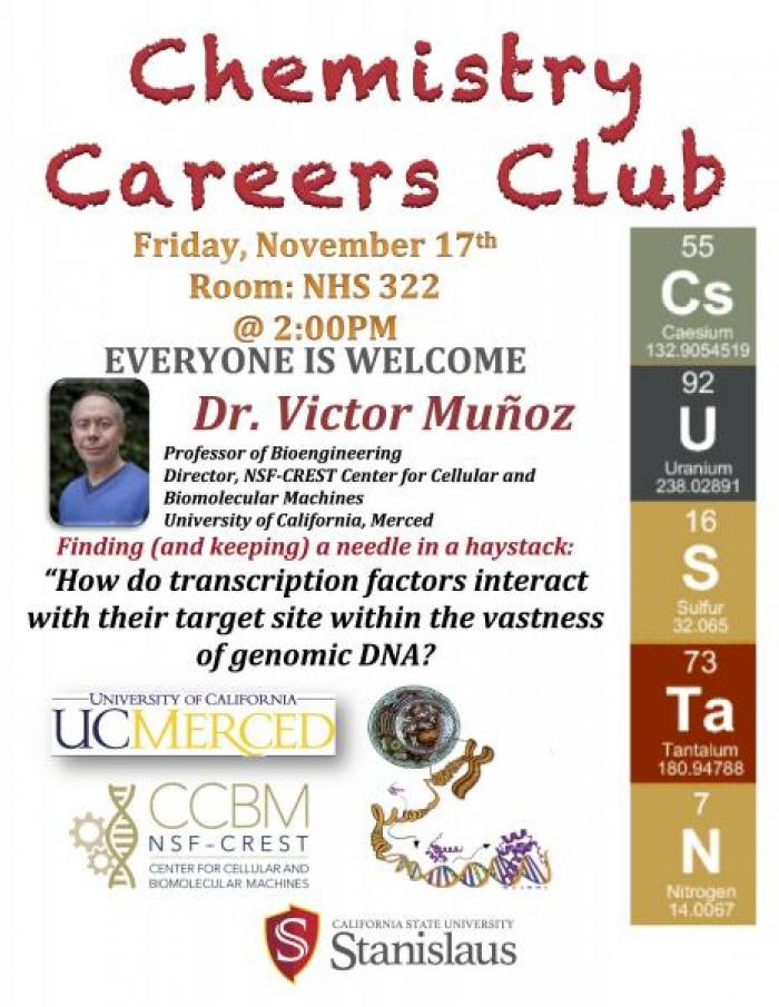 "00pm Everyone is welcomed. Dr. Victor Munoz, Professor of bioengineering, Director, NSF-CREST center for cellular and Bimolecular Machines. University of California, Merced. ""How do transcription factors interact with their target site within the vastness of genomic DNA?"