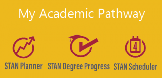 graphic with text: My Academic Pathway, STAN Planner, STAN Degree Progress, STAN Scheduler